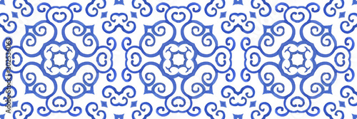 Antique portuguese tiles. Blue Azulejos ceramic. Spanish pottery..Sicily italian majolica. Vintage ethnic background . Mediterranean watercolor seamless wallpaper. Moroccan ornaments in indigo color