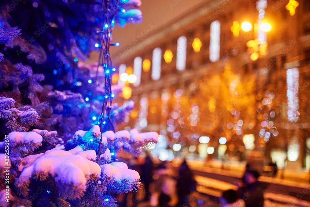 Fototapety, obrazy: New Year festoon illumination on city alley