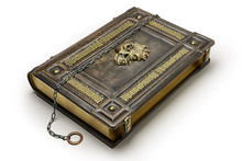 Aged Brown Leather Book With The Latin Text Memento Mori (Remember You Must Die) As A Gilded Frame, The Skull In The Center And The Chain Over The Cover Captured In Lay Down Position