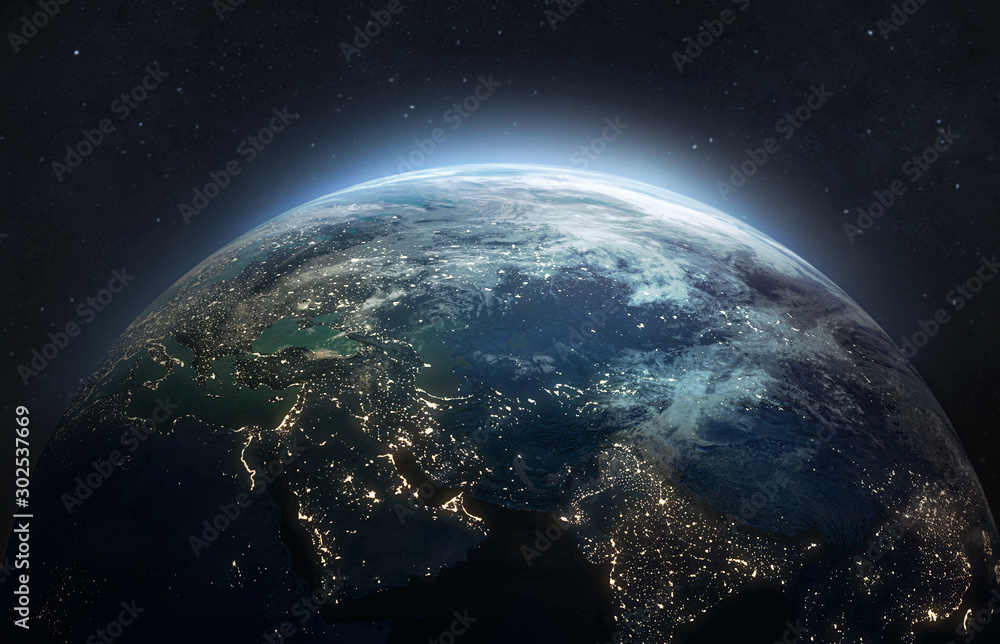 Fototapeta Nightly planet Earth in dark outer space. Civilization. Elements of this image furnished by NASA