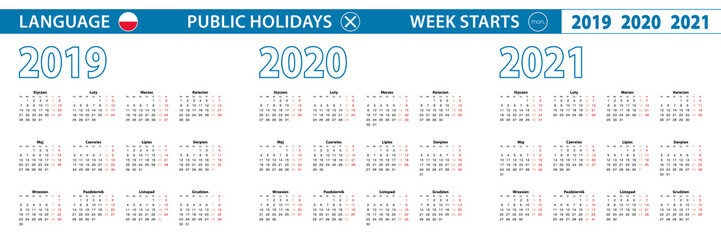 Simple calendar template in Polish for 2019, 2020, 2021 years. Week starts from Monday.
