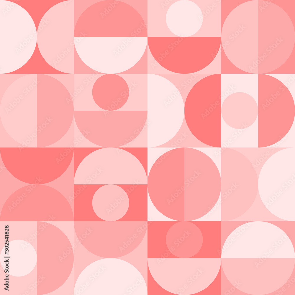 Seamless geometric pattern in scandinavian style with circles and semicircles