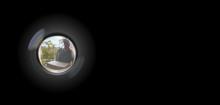 Peephole View Of Parcel Delive...