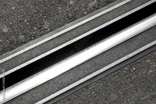 Foto auf Leinwand Eisenbahnschienen Tram rail