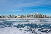 Toronto Skyline With Frozen Lake, Frozen Lake And City, City Skyline With Frozen Lake, Frozen Water, Great Lake Frozen, Beautiful Sunny Day With City Buildings, Sunny Winter Day, City Skyline Winter