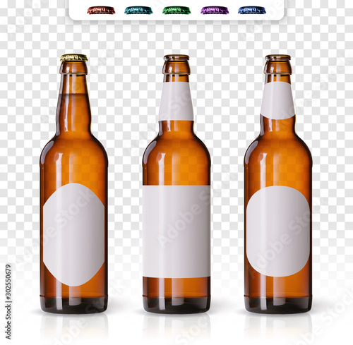 Cuadros en Lienzo Wheat beer ads, realistic vector beer bottle with attractive beer and ingredients on background