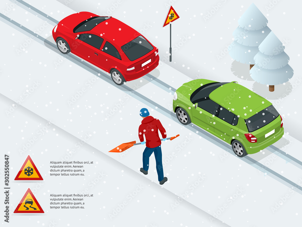 Fototapety, obrazy: Isometric slippery, ice, winter, snow road and cars. Caution Snow. Winter Driving and road safety. Urban transport.
