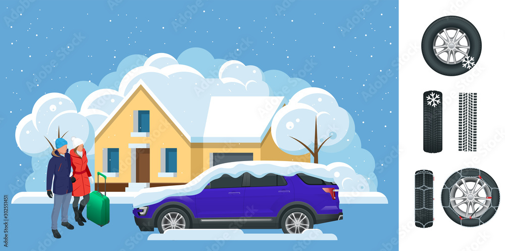 Fototapety, obrazy: Slippery, ice, winter, snow road and cars. Caution Snow. Winter Driving and road safety. Urban transport. Chains snow for the wheels car on white background.
