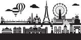 Fototapeta Fototapety z wieżą Eiffla - Paris City Skyline vector 5