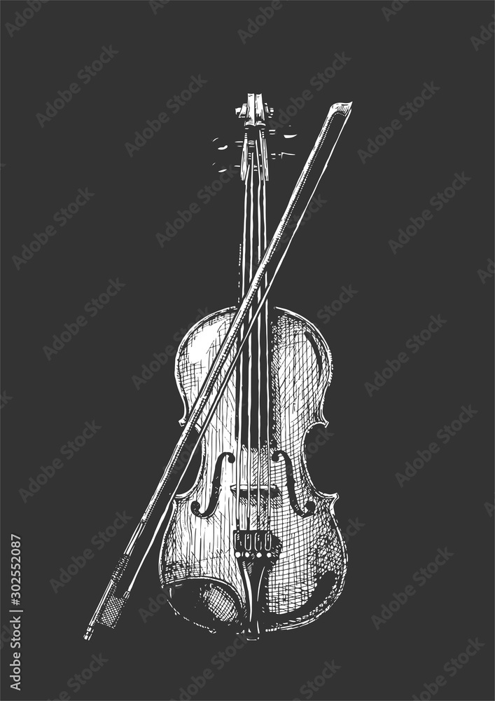 Fototapeta violin with bow