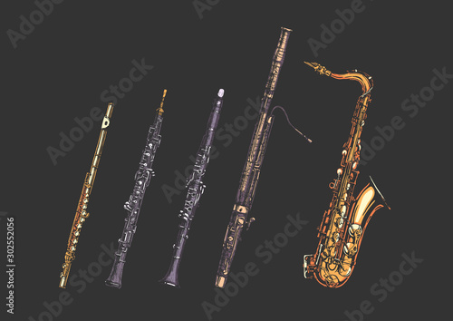 Photo Woodwind musical instruments set
