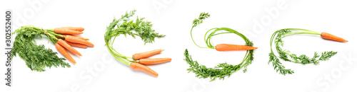Tasty fresh carrots on white background Fototapeta