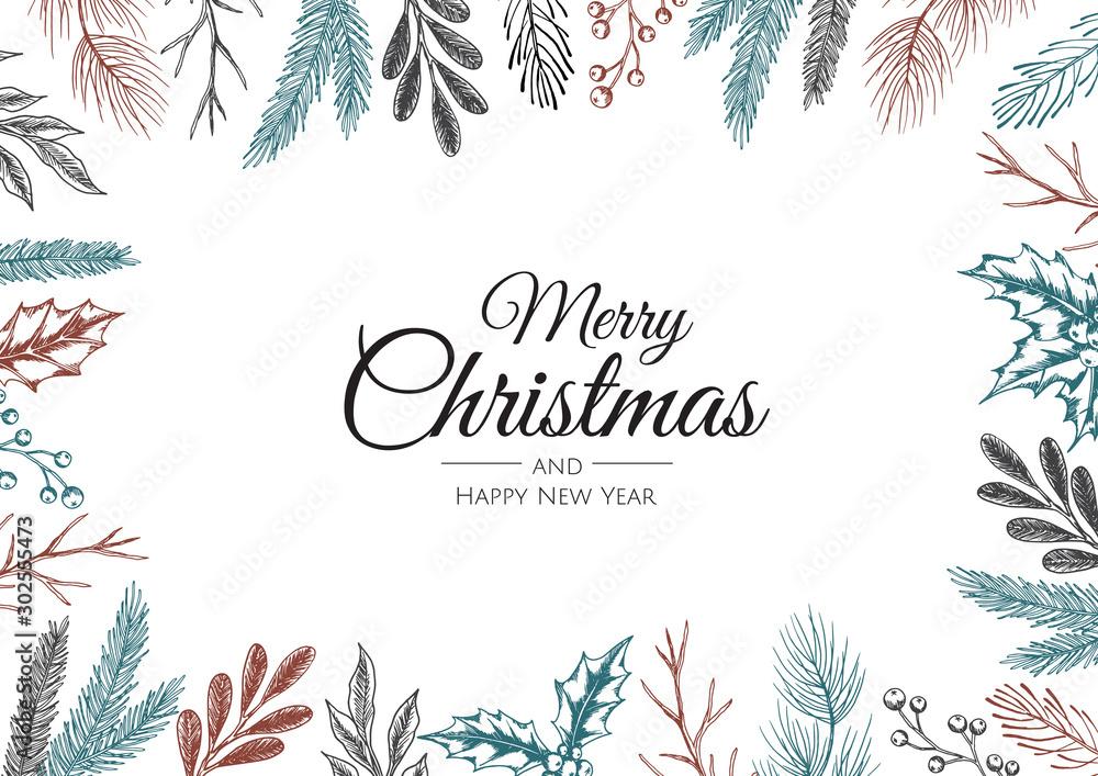 Fototapety, obrazy: Christmas vector background. Xmas sale, holiday web banner.