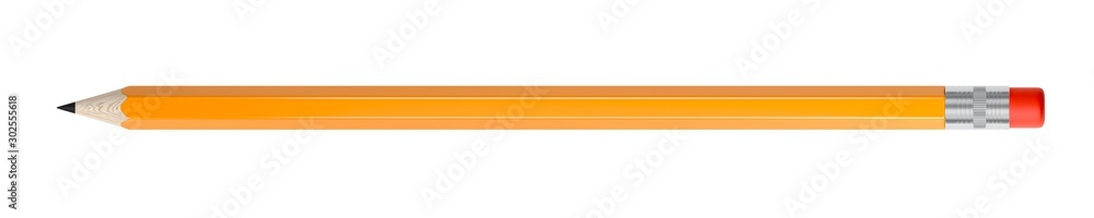 Fototapeta Orange pencil isolated on white background. Eraser. 3d illustration.
