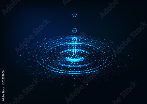 Fotografia, Obraz  Futuristic glowing low poly falling water drops and water circle ripples on dark blue background