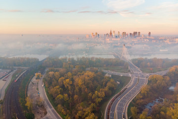 Warsaw city center at dawn aerial view