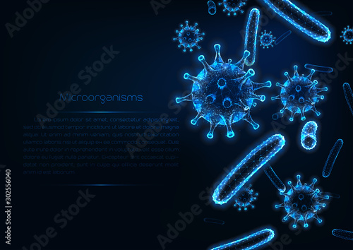 Obraz Futuristic immunology web banner with glowing low polygonal virus and bacteria cells. - fototapety do salonu