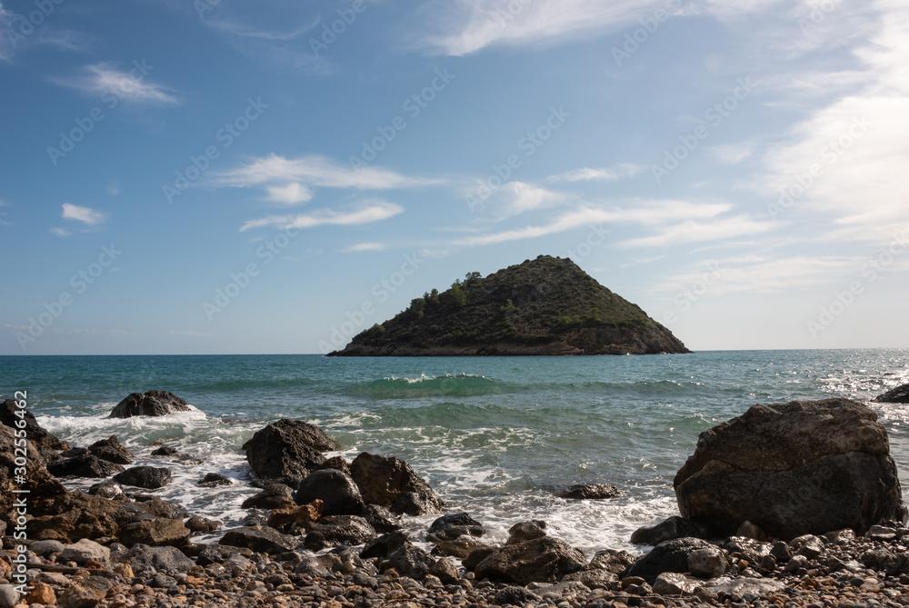 Cala del Gesso beach, Argentario island coast, Tuscany, Maremma, Grosseto, Italy. Selective focus.