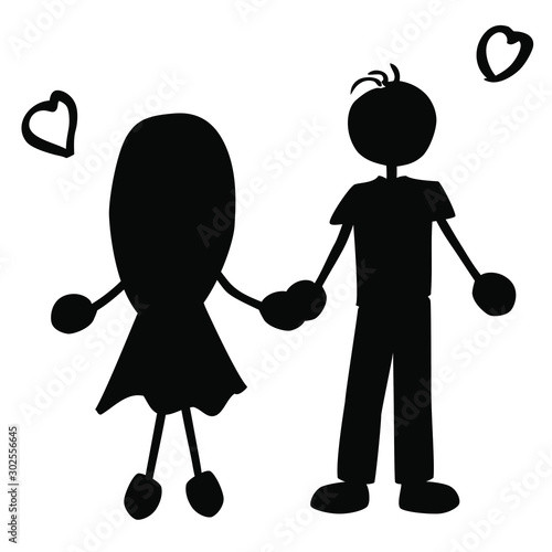 silhouette of a couple with hearts_isolated_by jziprian Wallpaper Mural