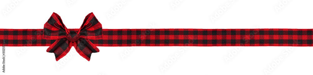 Fototapety, obrazy: Red and black buffalo plaid Christmas gift bow and ribbon. Long border isolated on a white background.