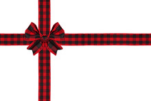 Red And Black Buffalo Plaid Christmas Gift Bow And Ribbon Arranged As Wrapped Gift Box Isolated On A White Background