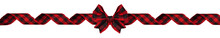 Long Christmas Border Of Red And Black Buffalo Plaid Bow And Ribbon Isolated On A White Background