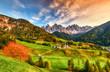 Leinwandbild Motiv Beautiful landscape of Italian dolomites - Santa maddalena
