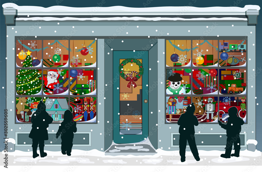 Fototapety, obrazy: Storefront Christmas window filled with vintage toys, presents and colorful decorations. Silhouettes of children are outside, looking into the windows while snowflakes fall to the snowy sidewalk.
