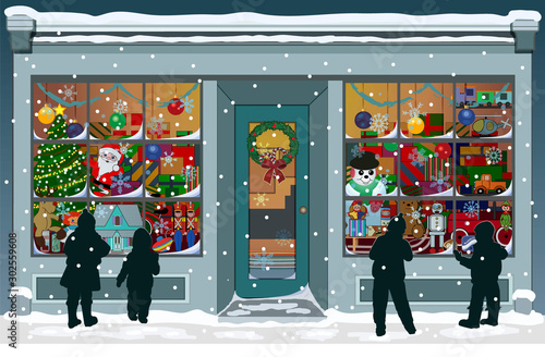 Storefront Christmas window filled with vintage toys, presents and colorful decorations. Silhouettes of children are outside, looking into the windows while snowflakes fall to the snowy sidewalk.