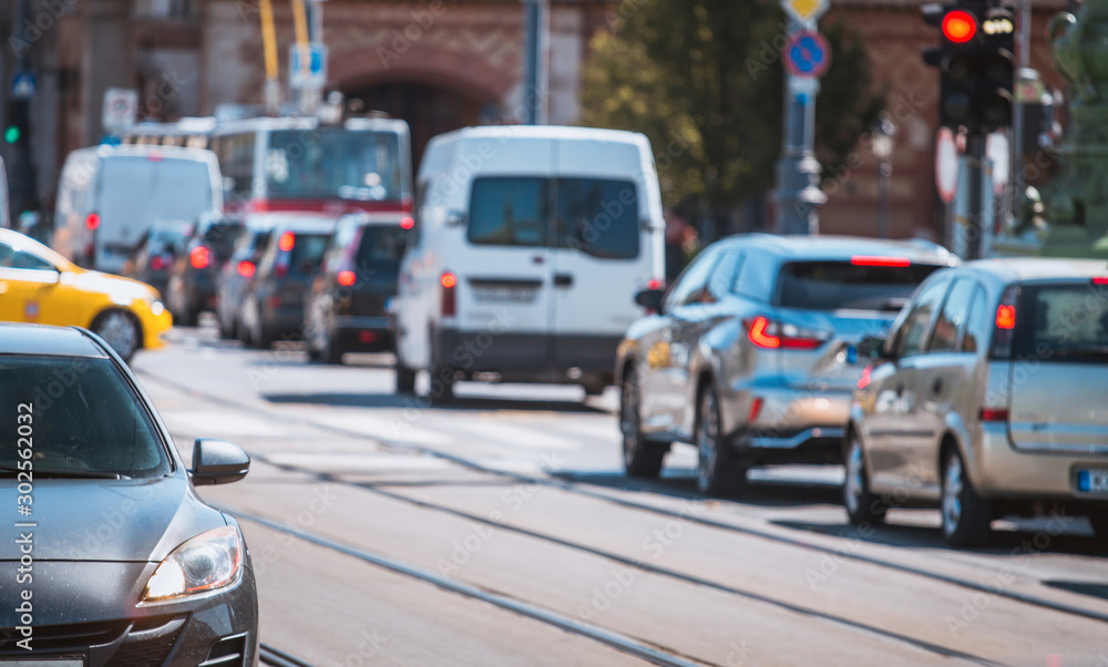 Fototapety, obrazy: Cars in Traffic jam in crowded city street