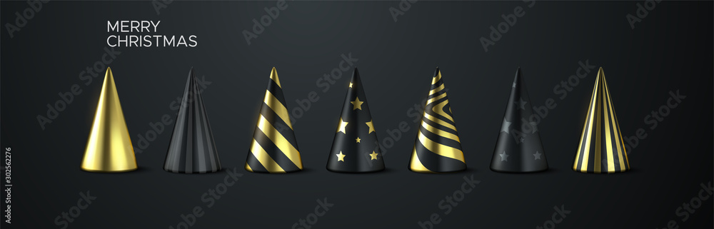Fototapety, obrazy: Abstract Christmas tree set. Vector 3d illustration. Black and golden geometric cone shapes. Festive elements for design.