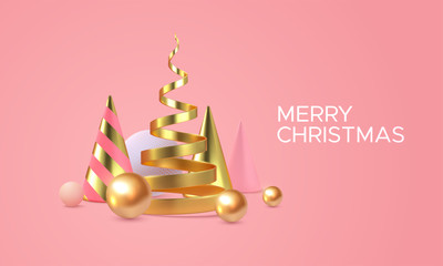 Merry Christmas. Vector holiday illustration. Geometric 3d primitives concept. Minimal style cover. Golden helix, cones and spheres. Party invitation design. Futuristic trendy poster template