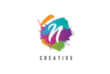 Hand Lettering Brush Initial Letter N Inside Colorful Paintbrush Template Design