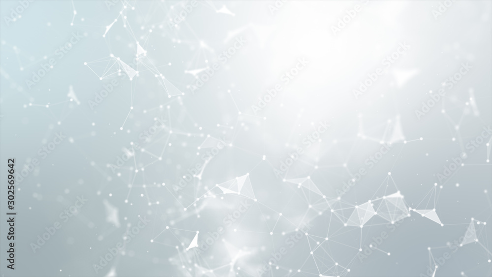 Fototapety, obrazy: Abstract background Dot and connect line for cyber technology futuristic and network connection concept with dark and grain processed wide screen ratio.