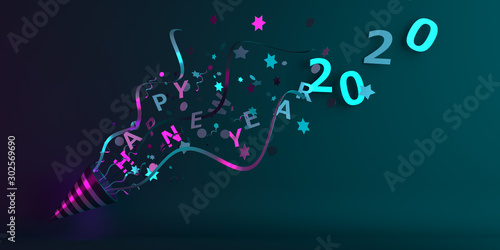 Obraz Happy New Year 2020 design creative concept, party popper cone and glittering confetti on green purple gradient background. Copy space text area, 3D rendering illustration. - fototapety do salonu
