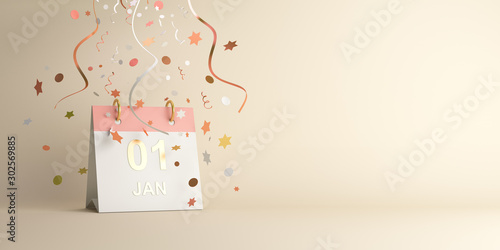 Obraz Happy New Year design creative concept, January 1st calendar and glittering confetti on gradient background. Copy space text area, 3D rendering illustration. - fototapety do salonu