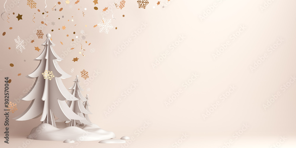 Fototapeta Winter abstract background, pine, spruce, fir tree art paper cut, snow on background studio lighting. Copy space text area, 3D rendering illustration.