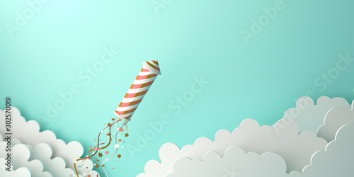Happy New Year design creative concept, firework rocket, glittering confetti, cloud on green mint background. Copy space text area, 3D rendering illustration.