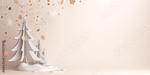 Obraz Winter abstract background, pine, spruce, fir tree art paper cut, snow on background studio lighting. Copy space text area, 3D rendering illustration. - fototapety do salonu