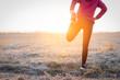 Leinwanddruck Bild - Adult fitness sportswoman runner stretching legs before run on field.