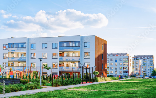 Vászonkép Modern residential apartments and flats buildings exterior and outdoor facilities