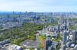 東京風景 2019 春 新緑 青空 六本木から望む新国立競技場方面