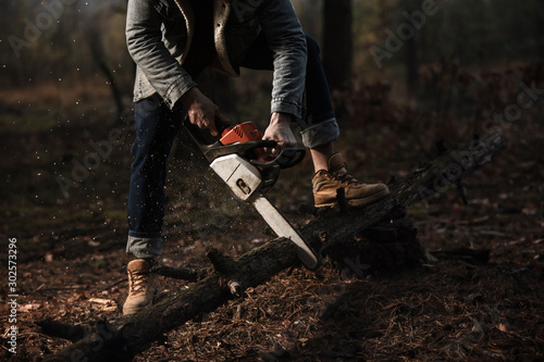 Foto auf Leinwand Schokobraun Lumberman work with chainsaw sawing a tree in the forest. Lifestyle work. Male hands with a saw in the woods. Detail . Hard work with a saw.