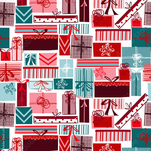 Foto op Aluminium Kunstmatig Holiday gift box seamless repeating pattern for fabric, wrapping paper, backgrounds, cards, invitations and more. Whimsical, quirky Christmas doodle. EPS file includes pattern swatch tile.