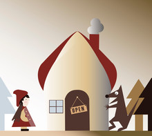 Little Red Riding Hood, Vector, Illustration, Characters, House, Tree, Wolf