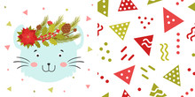 Mouse Face With Christmas Wreaths On The Head. Cute Christmas Animal And Background For Children's Holiday Or Christmas For Party Decoration, Wrapping Paper, Wallpaper, Cards, Invitations And