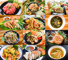 Photo Mix Thai Food And Papaya Salad Served On Dining Table / Various Tradition Northern Food In Thailand On A Wooden Table Som Tum Menu Asian Food