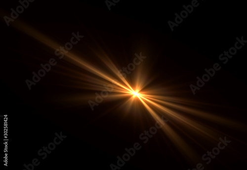 Obraz Overlay, flare light transition, effects sunlight, lens flare, light leaks. High-quality stock images of warm sun rays light effects, overlays or golden flare isolated on black background for design - fototapety do salonu