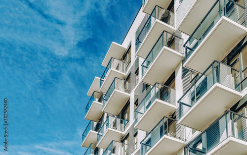 Photo Detail of Modern residential apartment flat building exterior