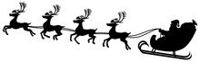 Vector Illustration Of A Black And White Silhouette Of Santa And His Reindeer In Flight.